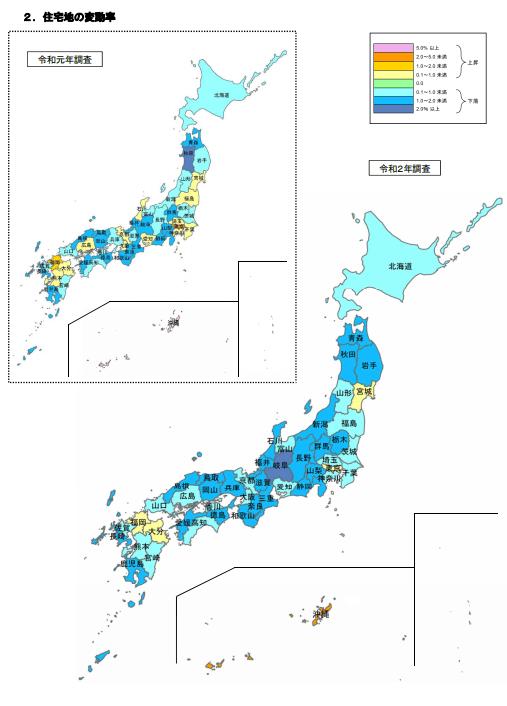 都道府県別の住宅地の地価変動率。地価は、ほとんどの県で下落傾向。